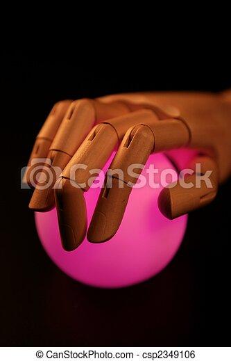 Wooden Mannequin Hand Ball Of Light Fortune Teller