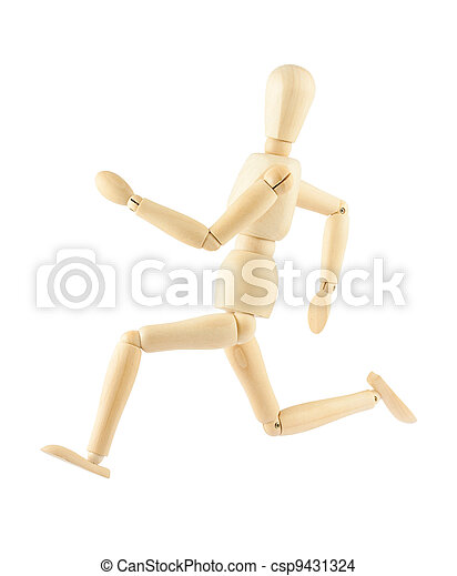 Wooden mannequin running isolated on white background - csp9431324