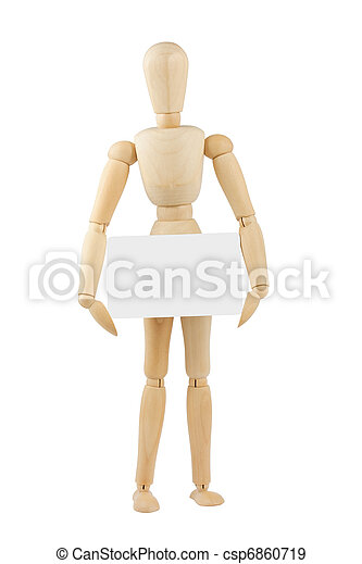 wooden mannequin with blank card - csp6860719