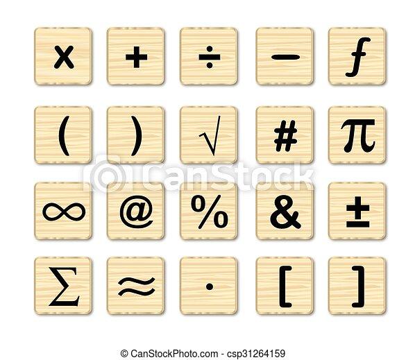 Wooden math symbols a set of math symbols on wooden squares over a wooden math symbols csp31264159 publicscrutiny Choice Image