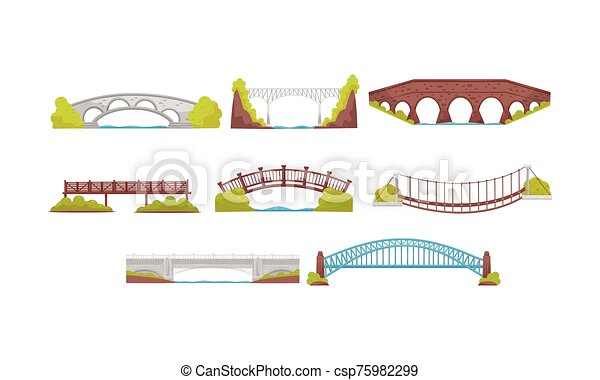 Wooden, Metal and Stone Bridges Collection, Urban Architecture Design Element Vector Illustration - csp75982299