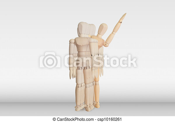 Wooden model in the crowd for human resource concept - csp10160261