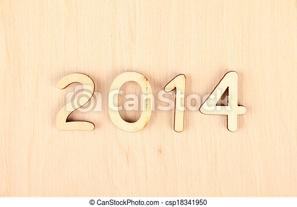 Wooden number in 2014. New Year - csp18341950