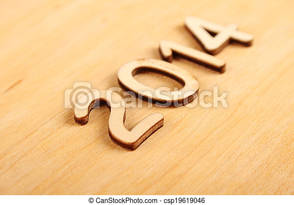Wooden number in 2014. New Year - csp19619046