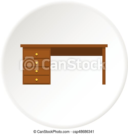 Wooden Office Desk Icon Circle