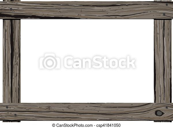 Wooden old frame. Old dark wood horizontal frame with empty space ...