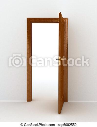 open doors clipart. Wooden Open Door Over White Background - Csp6082552 Doors Clipart