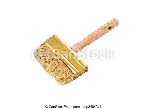 Wooden paint brush, isolated on white background - csp8484311