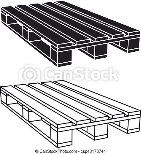 wooden pallet black symbol - csp43173744