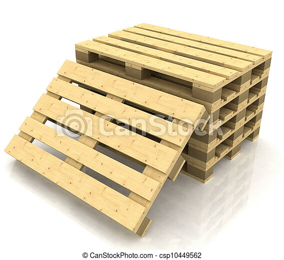 wooden pallets on the white background - csp10449562