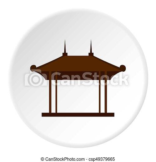 Wooden pavilion icon circle - csp49379665