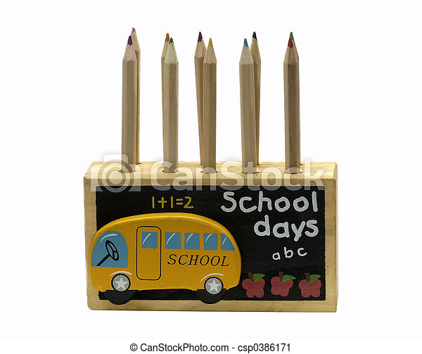 Wooden Pencil Holder - csp0386171