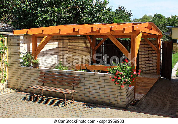 Wooden Pergola Stock Photo