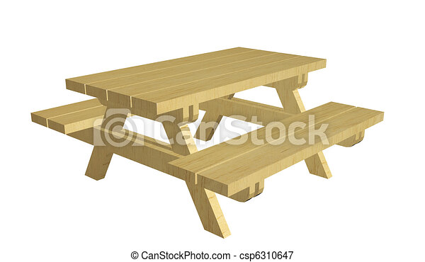 wooden picnic table 3d illustration isolated against a white background. Black Bedroom Furniture Sets. Home Design Ideas