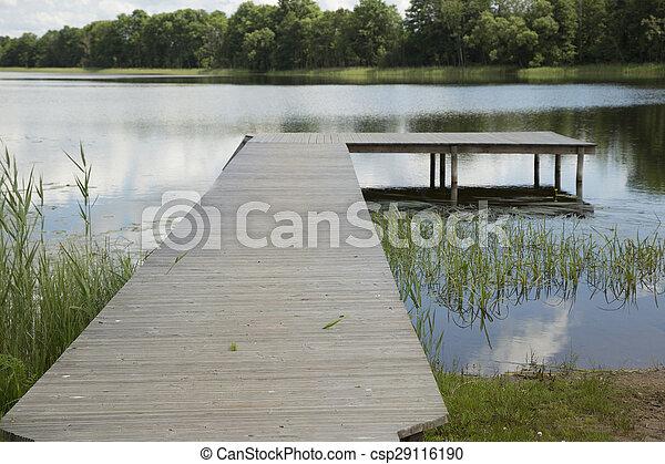 Wooden pier in lake - csp29116190