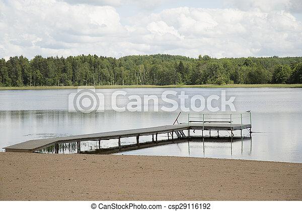 Wooden pier in lake - csp29116192