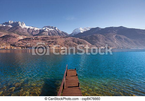 Wooden Pier Lake Mountains - csp8476660
