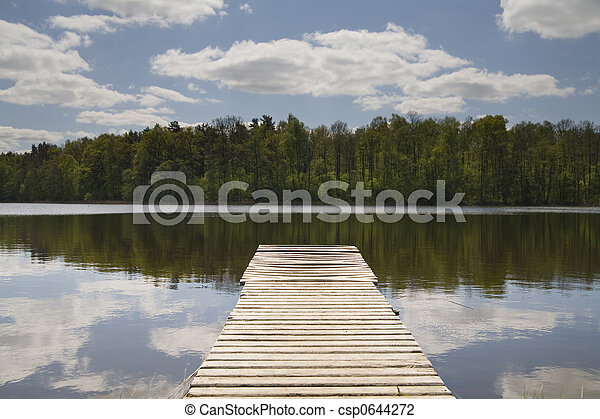 wooden pier on the lake - csp0644272