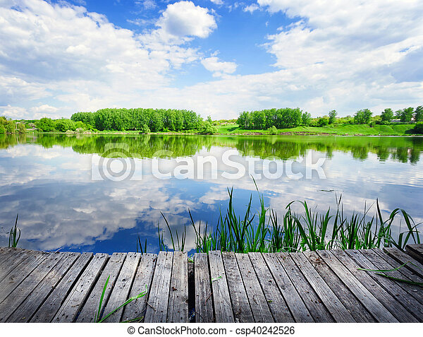 Wooden pier on the lake - csp40242526