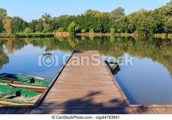 Wooden pier on the lake - csp44763841