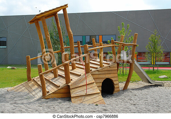 Wooden Pirate Ship In Playground