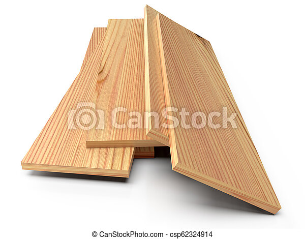 Wooden planks on a white floor. 3D rendering - csp62324914