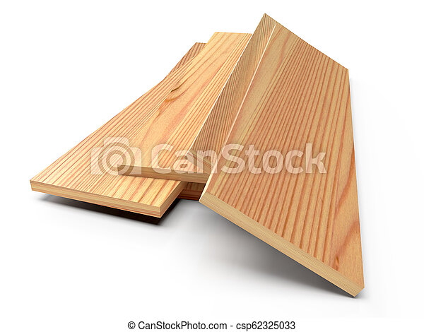 Wooden planks on a white floor. 3D rendering - csp62325033