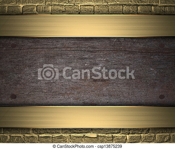 wooden plaque on a gold background design template