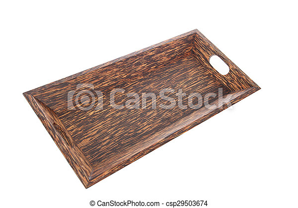 wooden plate isolated on white background - csp29503674