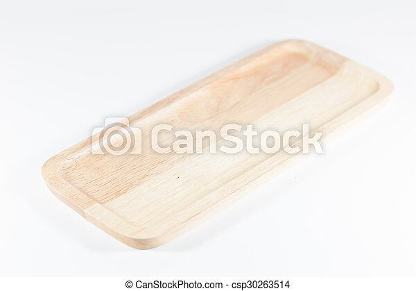 Wooden plate isolated on white background - csp30263514