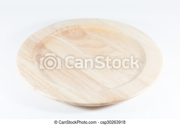Wooden plate isolated on white background - csp30263918