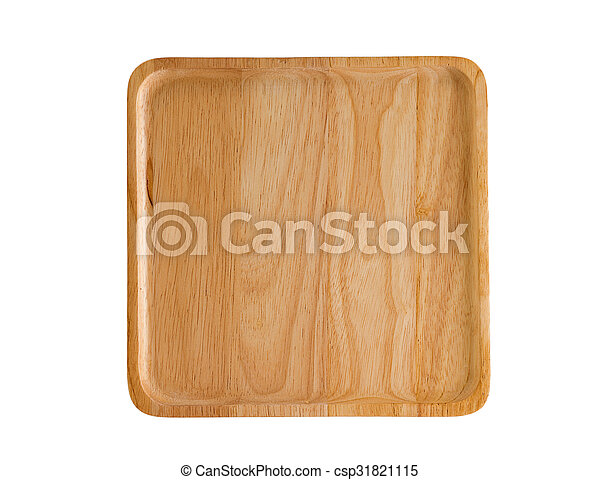 wooden plate isolated on white background - csp31821115