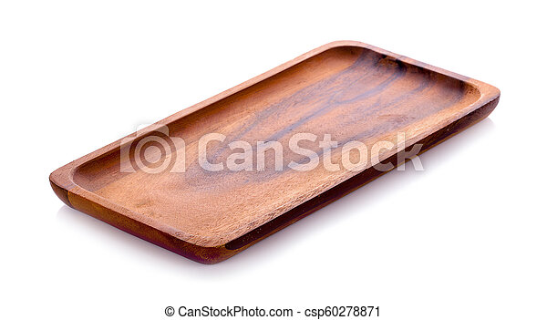 wooden plate isolated on white background - csp60278871