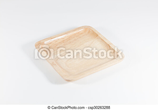 Wooden plate isolated on white background - csp30263288