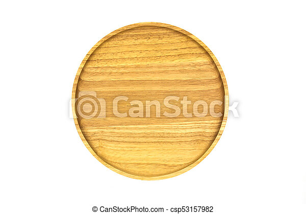 Wooden plate isolated on white background. - csp53157982