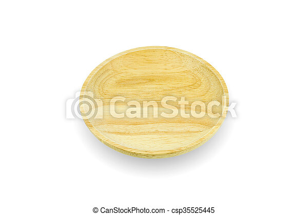 wooden plate isolated on white background - csp35525445