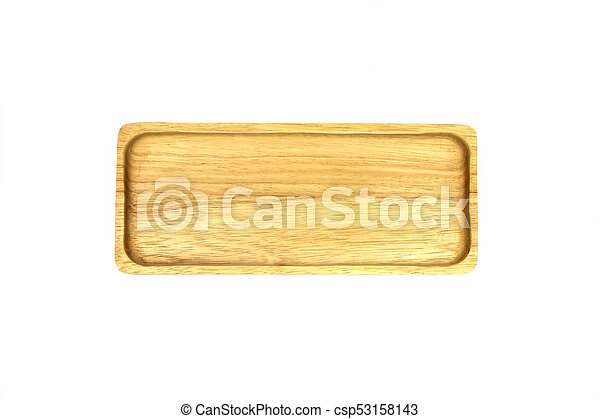 Wooden plate isolated on white background. - csp53158143