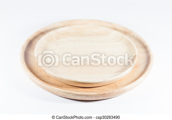 Wooden plate isolated on white background - csp30263490