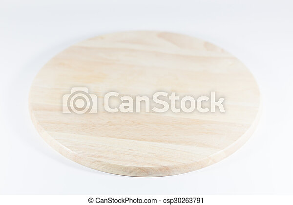 Wooden plate isolated on white background - csp30263791