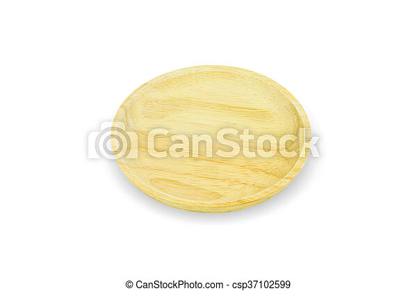 wooden plate isolated on white background - csp37102599