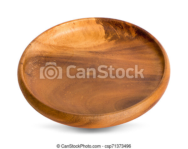 wooden plate isolated on white background - csp71373496