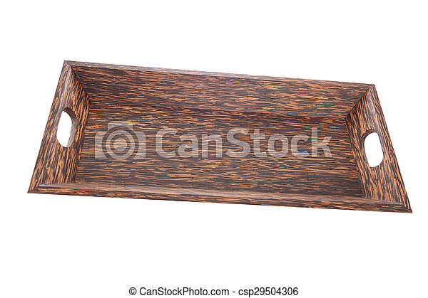 wooden plate isolated on white background - csp29504306