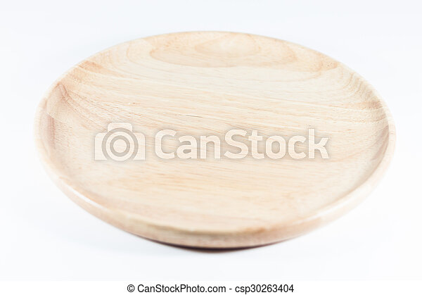 Wooden plate isolated on white background - csp30263404