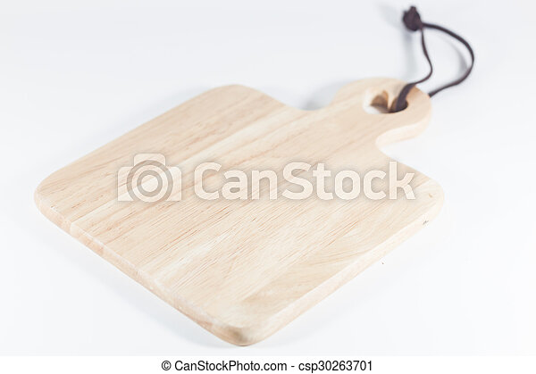 Wooden plate isolated on white background - csp30263701