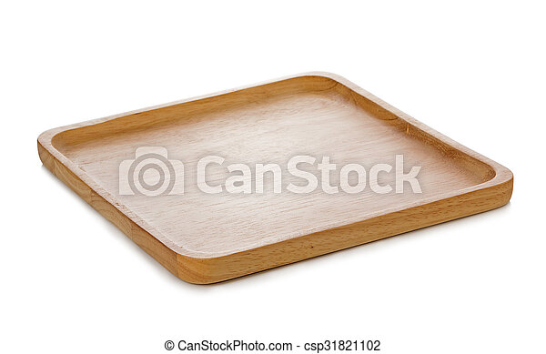 wooden plate isolated on white background - csp31821102