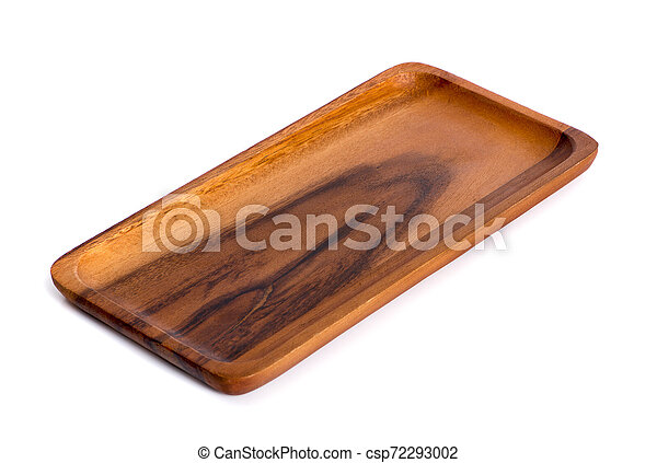 wooden plate isolated on white background - csp72293002