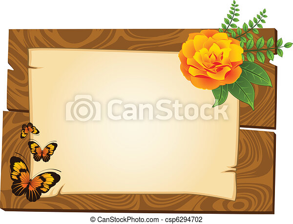 wooden pointers with flowers - csp6294702