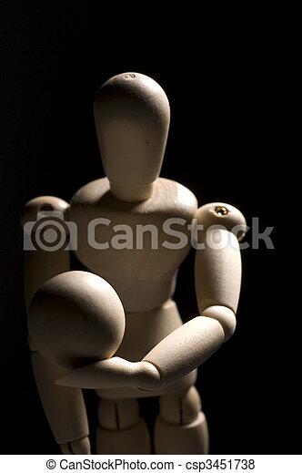 Wooden Posing Model Holding Ball - csp3451738