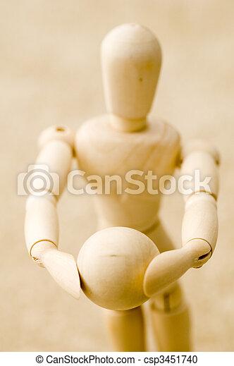 Wooden Posing Model Holding Ball - csp3451740
