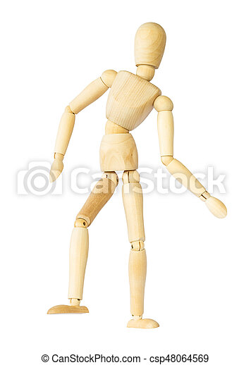 Wooden puppet is dancing . Isolated background . - csp48064569